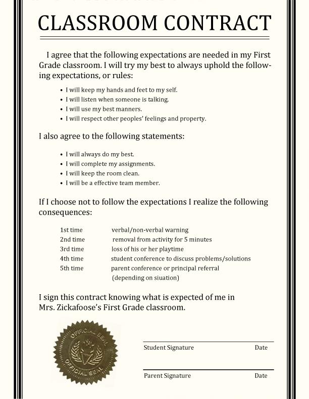 middle school homework contract